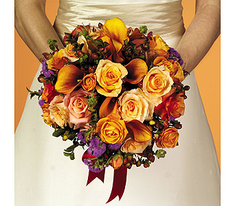 Round Orange Calla Lily & Rose Bouquet in Abington MA, The Hutcheon's Flower Co, Inc.