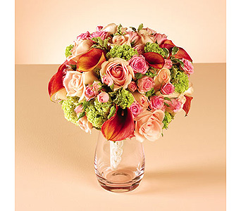 Orange Calla Lily & Pink Rose Bouquet in Abington MA, The Hutcheon's Flower Co, Inc.