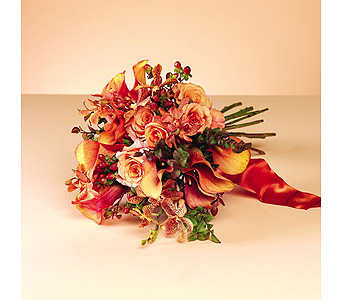 Orange Calla Lily & Rose Bouquet in Abington MA, The Hutcheon's Flower Co, Inc.