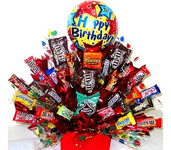 CB172 ''Birthday Blowout'' Candy Arrangement in Oklahoma City OK, Array of Flowers & Gifts