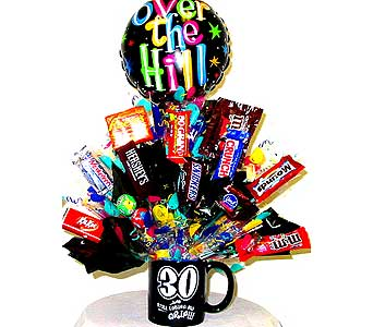 CB189 ''30th Over The Hill'' Candy Bouquet in Oklahoma City OK, Array of Flowers & Gifts