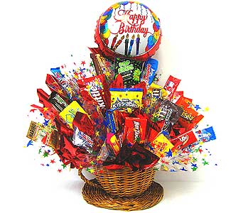 CB175 ''Birthday Break'' Candy Arrangement in Oklahoma City OK, Array of Flowers & Gifts