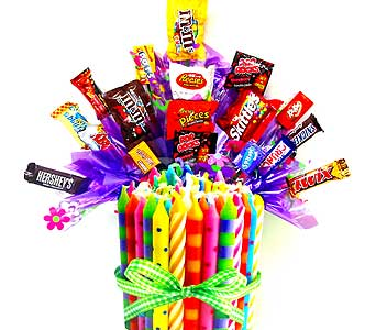CB178 ''Birthday Candles'' Candy Bouquet in Oklahoma City OK, Array of Flowers & Gifts