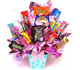 CB199 ''Butterfly Wishes'' Candy Bouquet in Oklahoma City OK, Array of Flowers & Gifts