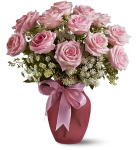 A Dozen Pink Roses and Lace in Modesto, Riverbank & Salida CA, Rose Garden Florist