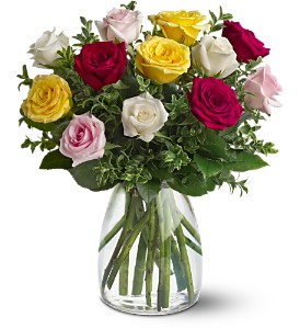 A Dozen Mixed Roses in Newmarket ON, Blooming Wellies Flower Boutique