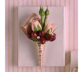Pink And Brown Boutonni�re in Williamsport PA, Janet's Floral Creations