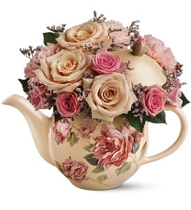 Teleflora's Victorian Teapot Bouquet in Shoreview MN, Hummingbird Floral