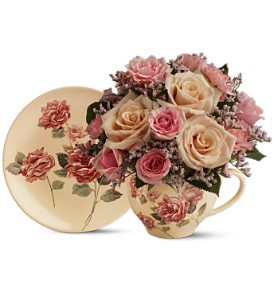 Teleflora's Victorian Teacup Bouquet in Cocoa FL, A Basket Of Love Florist