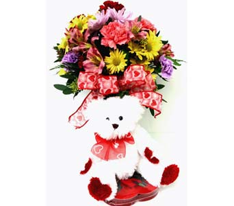 VF89c ''Heart to Heart'' Flowers, Bear & Chocolate in Oklahoma City OK, Array of Flowers & Gifts