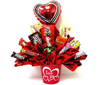 VCB90 ''Luv Ya Valentine'' Candy Bouquet in Oklahoma City OK, Array of Flowers & Gifts