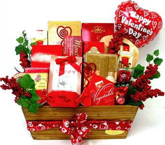 VGF33 ''Valentine Feast'' Food Basket in Oklahoma City OK, Array of Flowers & Gifts
