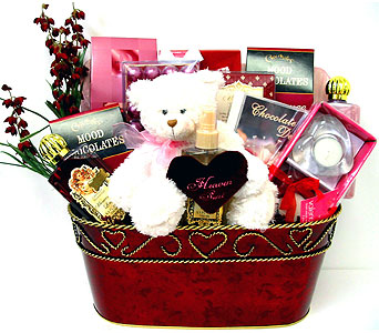 GB276 ''In the Mood'' Gift and Gourmet Basket in Oklahoma City OK, Array of Flowers & Gifts