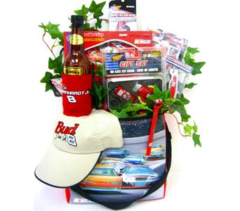 GB268 ''No 8 is Great!'' NASCAR Gift Basket in Oklahoma City OK, Array of Flowers & Gifts