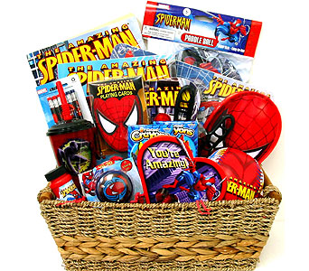 GB274  ''A Heart For Spiderman'' Gift Basket in Oklahoma City OK, Array of Flowers & Gifts