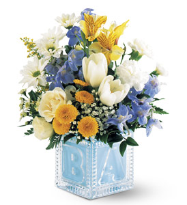 Teleflora's Crystal Baby Block (Boy) in Ajax ON, Reed's Florist Ltd