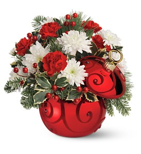 Teleflora's Ruby Swirl Ornament Bouquet in Palm Desert CA, Milan's Flowers & Gifts