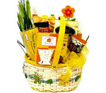 GF83  ''Bloomin' Delicious'' Gourmet Food Basket in Oklahoma City OK, Array of Flowers & Gifts