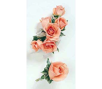 Peach Spray Rose Wristlet with Variegated Ivy in Albany NY, Emil J. Nagengast Florist
