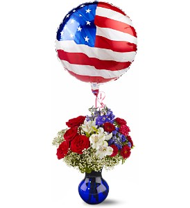 Red, White and Balloon Bouquet in San Clemente CA, Beach City Florist