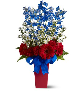 Patriotic flower arrangements red white blue flowers memorial freedom fireworks bouquet mightylinksfo