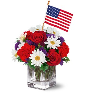 Patriotic flower arrangements red white blue flowers memorial freedom bouquet by teleflora mightylinksfo