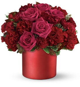 Teleflora's Say it in Scarlet Bouquet in Niagara Falls NY, Evergreen Floral