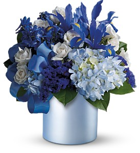 Teleflora's Blue Blooms in Dubuque IA, New White Florist