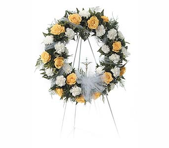 Yellow & White Open Wreath in Abington MA, The Hutcheon's Flower Co, Inc.