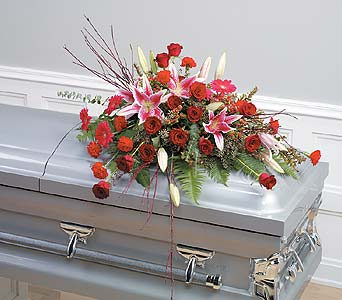Red & Pink Casket Spray in Abington MA, The Hutcheon's Flower Co, Inc.
