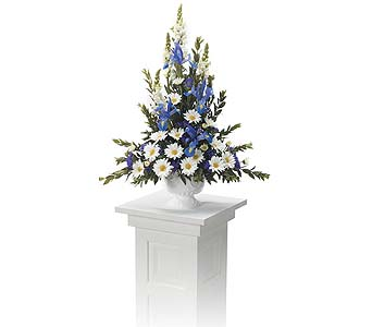 Pedestal Arrangement Purples & Whites in Abington MA, The Hutcheon's Flower Co, Inc.