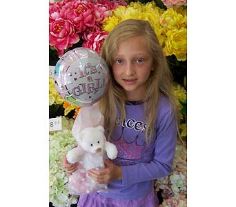 It's A Girl Balloon and Bear in Palm Desert CA, Milan's Flowers & Gifts