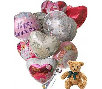 12 Anniversary Balloons & Bear in Palm Desert CA, Milan's Flowers & Gifts