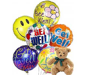 6 Get Well Balloons & Bear in Palm Desert CA, Milan's Flowers & Gifts