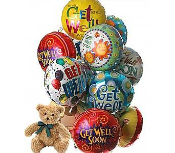 12 Get Well Balloons & Bear in Palm Desert CA, Milan's Flowers & Gifts