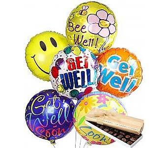 6 Get Well Balloons & Chocolate  in Palm Desert CA, Milan's Flowers & Gifts