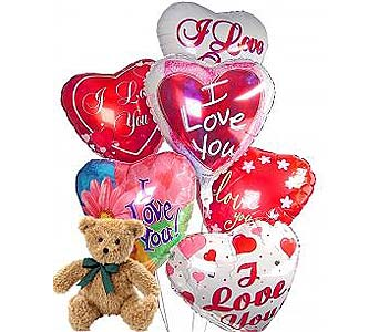 Romantic Balloons & Bear 6 Mylar in Palm Desert CA, Milan's Flowers & Gifts