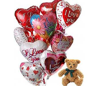 12 Romantic Balloons & Bear  in Palm Desert CA, Milan's Flowers & Gifts