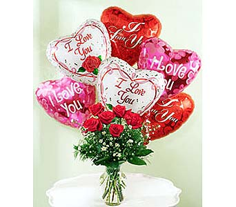 The Perfect Dozen Plus 6 Balloons in Palm Desert CA, Milan's Flowers & Gifts