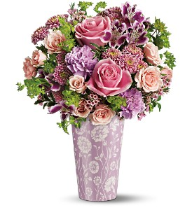 Teleflora's Pink Damask Vase Bouquet in Bellevue PA, Dietz Floral & Gifts