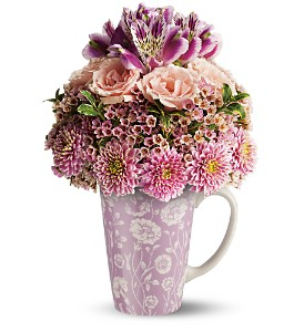 Teleflora's Pink Damask Mug Bouquet in Bellevue PA, Dietz Floral & Gifts