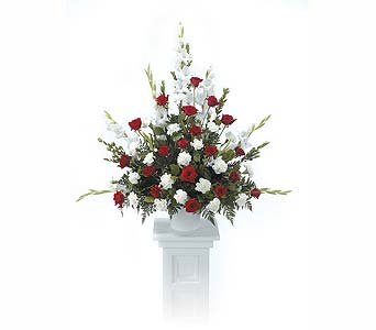 Pedestal Arrangement Red & White in Abington MA, The Hutcheon's Flower Co, Inc.