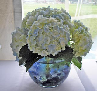 Blue Hydrangea Bubble Centerpiece in Portland ME, Dodge The Florist
