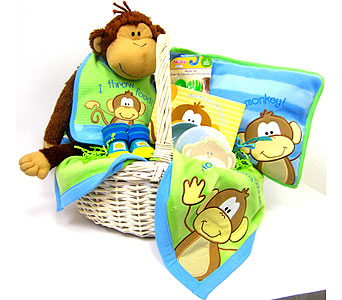 BabyGB64 ''Monkey Business'' Gift Basket for New Baby Boy in Oklahoma City OK, Array of Flowers & Gifts