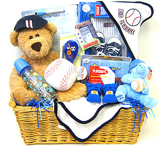 BabyGB65 ''Big League'' Baseball Gift Basket for New Baby in Oklahoma City OK, Array of Flowers & Gifts