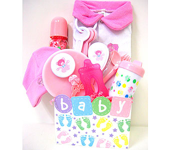 BabyGB56 ''Baby Footprints'' Gift Basket for Baby Girl in Oklahoma City OK, Array of Flowers & Gifts