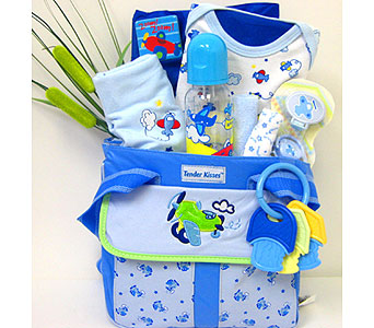 BabyGB62 ''Airplanes'' Baby Boy Gift Basket in Oklahoma City OK, Array of Flowers & Gifts