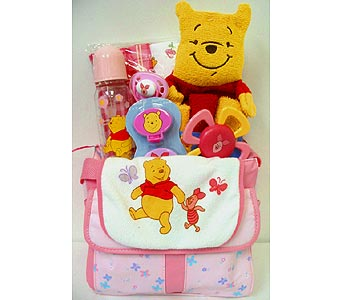 BabyGB47 ''Winnie the Pooh'' Baby Girl Gift Basket in Oklahoma City OK, Array of Flowers & Gifts