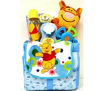 BabyGB48  ''Winnie the Pooh'' Baby Boy Gift Basket in Oklahoma City OK, Array of Flowers & Gifts
