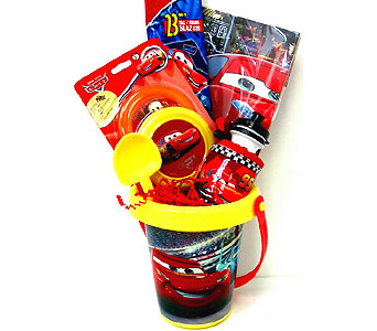 KGB20   ''Lightning McQueen'' Cars Themed Gift Basket in Oklahoma City OK, Array of Flowers & Gifts